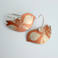 Bird earrings with leaf print