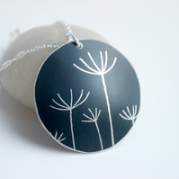 Dandelion seed pendant necklace in black and silver