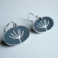 Dandelion seed earrings in black and silver