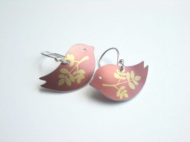 Bird earrings in terracotta with leaf wings