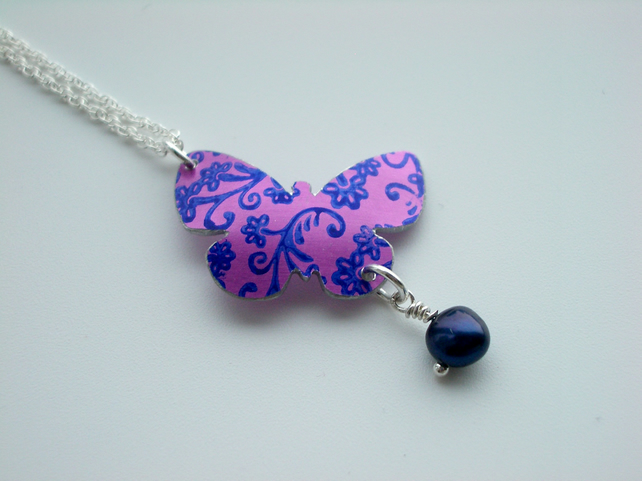 Butterfly pendant necklace in purple with blue flower print