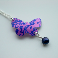 SALE Butterfly pendant necklace in purple with blue flower print - SALE