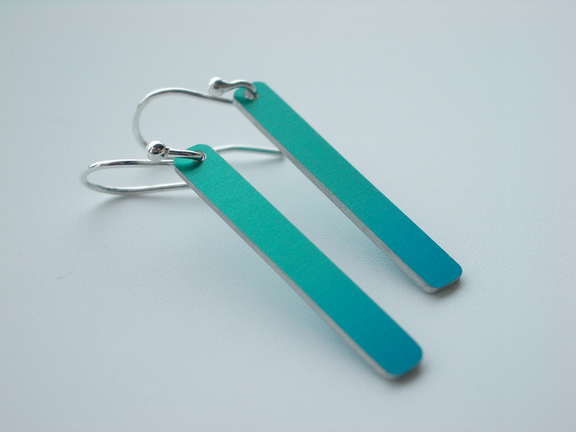 Rectangle earrings dip dyed in turquoise & blue