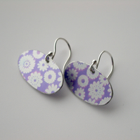 Purple pod shaped flower earrings