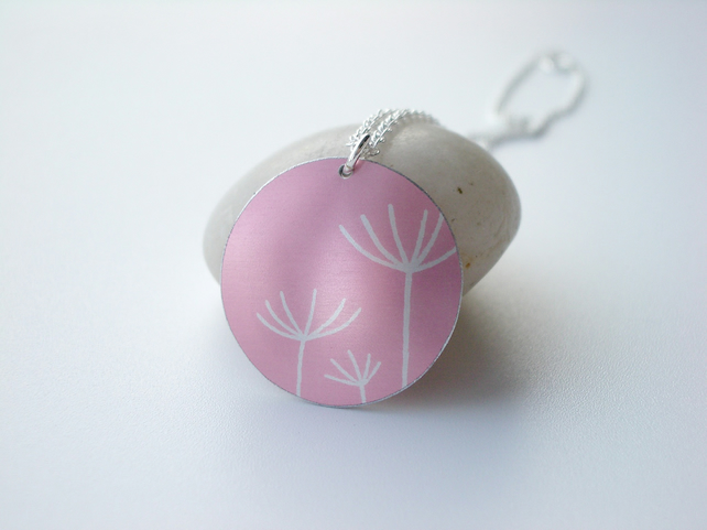 Dandelion seed pendant necklace in pink and silver
