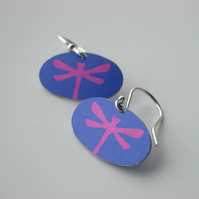 Dragonfly earrings in purple and pink