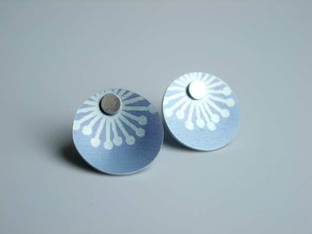 Blue grey starburst earrings studs