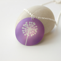 Dandelion necklace pendant in purple
