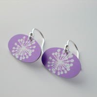 Dandelion seed earrings in purple