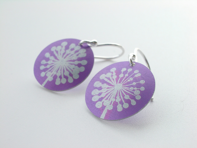 Purple dandelion clock earrings