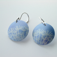 Blue dandelion seed earrings
