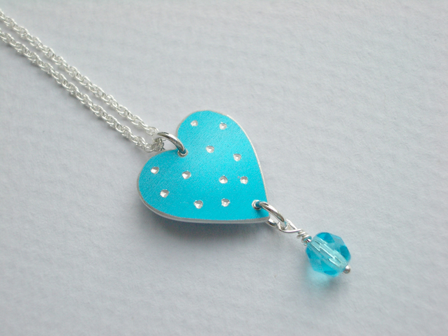 Turquoise spotty heart pendant necklace