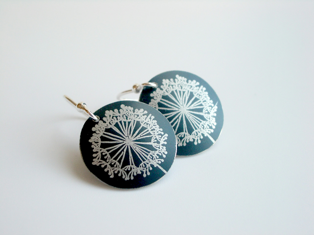 Dandelion clock earrings in black and silver