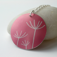 Dandelion necklace pendant in coral pink