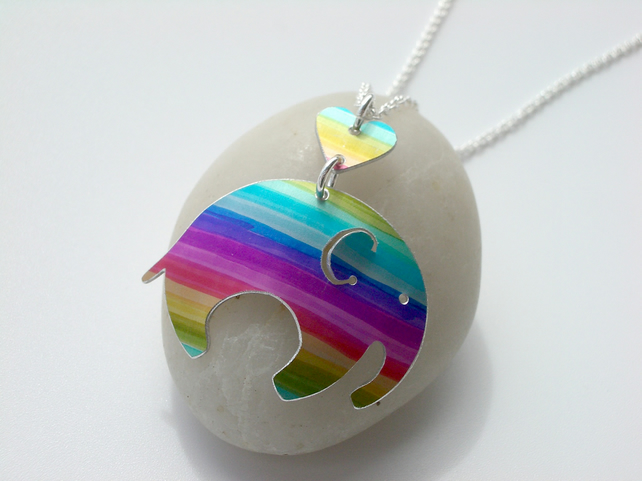 Elephant pendant necklace in rainbow stripes