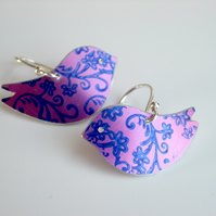 Bird earrings in purple with blue flower print