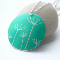 Dandelion pendant necklace in jade green