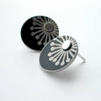 Starburst black and silver stud earrings