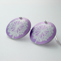 Dandelion clock earrings in purple and silver