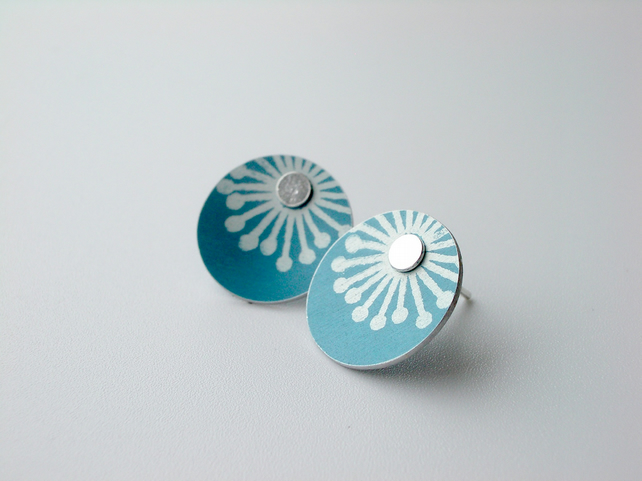 Teal blue starburst studs earrings