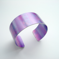 Pink and purple pastel dyed aluminium cuff bangle bracelet