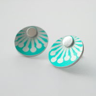 Tiny turquoise starburst studs earrings