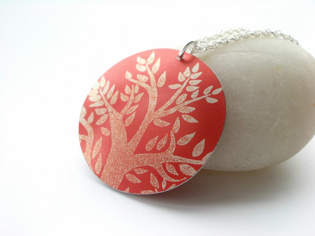 Tree pendant in autumnal orange