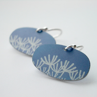 Dandelion earrings in blue-grey