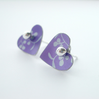 Heart studs earrings in purple