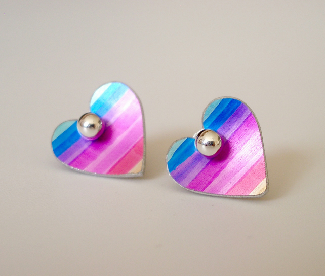 Rainbow heart studs earrings