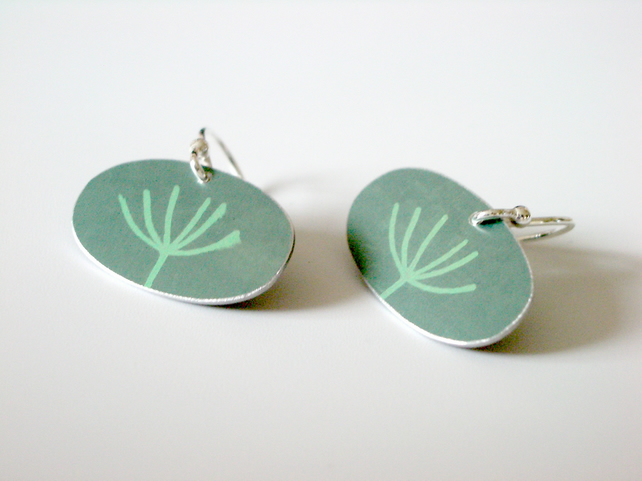 Dandelion earrings in sage green