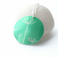 Dandelion seeds printed necklace pendant in jade green