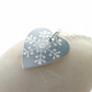 Christmas snowflake heart pendant in silver grey