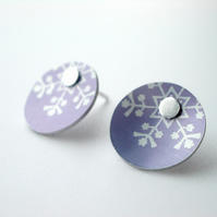 Christmas snowflake earring studs in purple