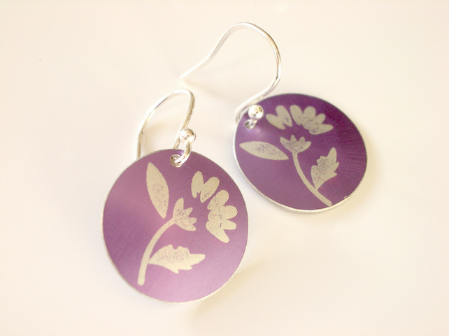 Thistle printed disc earrings in purple