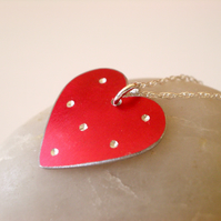 Red spotty heart pendant necklace