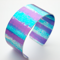 Cuff hand dyed in purple,turquoise and blue