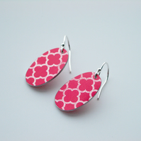 Moroccan tile style oval earrings in red