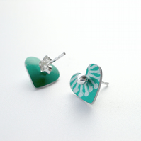 Heart studs earrings in jade green