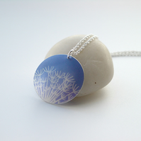 Dandelion seeds necklace pendant in blue
