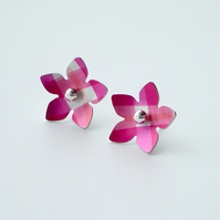 Flower earrings studs in pink and silver