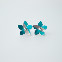 Flower earrings studs  in blue and grey