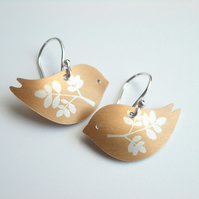 Bird earrings with leaf prints