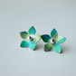Flower studs earrings in turquoise and green checks