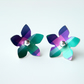 Flower studs earrings in purple and green