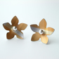 Flower studs earrings in yellow ochre