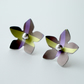 Flower studs earrings in purple and lime green