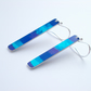 Striped rectangle dangly earrings in blue