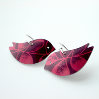 Bird earrings in plum with red leaf print