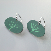 Dandelion seedhead earrings in sage green